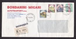 Italy: Registered Cover, 1991, 4 Stamps, Castle, Improvised R-label Borghi (damaged, Fold) - 1946-.. Republiek