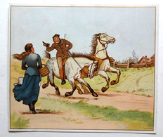 CHROMO LITHOGRAPHIE  .... FORMAT..    .12 / 13.5 Cm...    CHEVAUX..CAMPAGNE ANGLAISE...ILLUSTRATEUR W.F.C. - Vieux Papiers