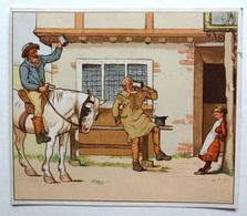 CHROMO LITHOGRAPHIE  .... FORMAT..    .12 / 13.5 Cm...    CHEVAL..TAVERNE ANGLAISE...ILLUSTRATEUR W.F.C. - Vieux Papiers