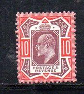 APR260 - GRAN BRETAGNA 1902 , 10 P. Unificato N. 116  *  Linguellato   (2380A) . - Nuovi