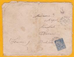1884 - Enveloppe De Madagascar Vers Lorient - COR. D. ARM. - LIG. T. PAQ. FR. N°2 - Cad Transit Et Arrivée - 15 Cent. - Alphée Dubois