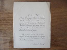 EGLISE SAINT HONORE D'EYLAU LE 5 JANVIER 1921 MADEMOISELLE GABRIELLE DURRIEU AVEC MONSIEUR PAUL DE CHARNACE CROIX DE GUE - Mariage