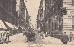 GENOVA-VIA ROMA-ANIMATISSIMA CON CARROZZA A CAVALLI IN PP-CARTOLINA NON VIAGGIATA-DATATA 24-4-1912 - Genova