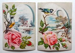 2 CHROMOS LITHOGRAPHIES   .... FORMAT..    .11.5 / 8 Cm...   PAYSAGE DANS UNE PALETTE DE PEINTRE...OISEAUX...ROSES - Vieux Papiers