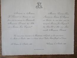 LE CATEAU ET WASSIGNY LE 17 OCTOBRE 1922  MADEMOISELLE MARGUERITE BERNARD AVEC MONSIEUR JEAN SEGAUST - Mariage