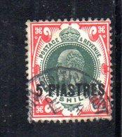 APR263 - LEVANTE BRITANNICO 1913 , 5 Piastre Su 1 Sh. Unificato N. 48 Usato   (2380A) . - Levant Britannique