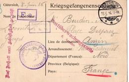 CUTERSLOH   PRISONNIERS DE GUERRE  1916  FRANCHISE MILITAIRE  ANZIN - Marcophilie (Lettres)