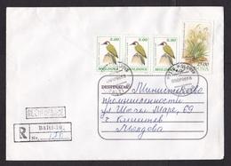 Moldova: Registered Cover, 1996, 4 Stamps, Woodpecker Bird, Flower (minor Damage) - Moldavië