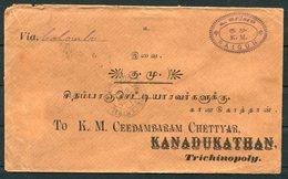 1903 Indo China Saigon Cover - Trichinopoly India. Tuticorin Kandadukathan. French Paquebot Ligne - Indochina (1889-1945)