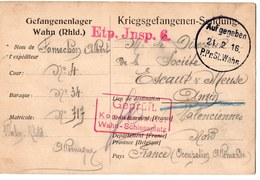 WAHN   PRISONNIERS DE GUERRE  1916  FRANCHISE MILITAIRE  ANZIN - FM-Karten (Militärpost)