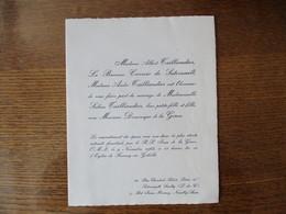 FRESNOY EN GOHELLE LE 9 NOVEMBRE 1963 MADEMOISELLE SABINE TAILLIANDIER AVEC MONSIEUR DOMINIQUE DE LA GORCE - Mariage