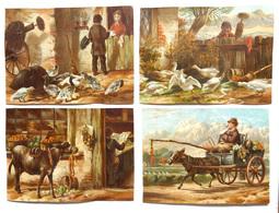 4 CHROMOS LITHOGRAPHIES  .. FORMAT.9 / 12 Cm...  SCÈNES DE FERME ANGLAISE..ÂNE ET LA CAROTTE .CHARRETTE OIES ..CANARDS - Vieux Papiers