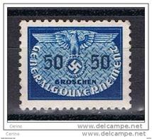 POLONIA:  1940  GOVERNO  GENERALE  -  SERVIZIO  -  50 Gr. GRIGIO  L. -  YV/TELL. 9 - Governo Generale