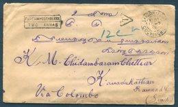 "1926 Indo China Saigon Fort Cover - Kanadukathan India Via Colombo Ceylon. ""Foreign Postage Due Two Annas"" - Indochina (1889-1945)"