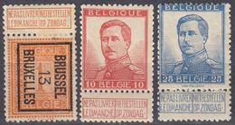 BELGIE - BELGIQUE - 1912/1913 - Lotto Composto Da 3 Valori: Yvert 108 Usato, 120 E 123 Nuovi MH. - 1912 Pellens