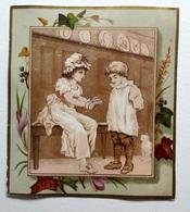 CHROMO LITHOGRAPHIE .. FORMAT 12.5 / 11 Cm... ILLUSTRATION  CENTRALE SÉPIA..JEU D'ENFANTS...PETIT CHAT...LIERRE - Vieux Papiers