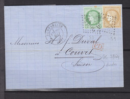 FRANCE 53+59 OBL GC 2964 PONTARLIER POUR COUVET SUISSE PONTARLIER DOUBS - Postmark Collection (Covers)