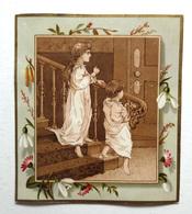 CHROMO LITHOGRAPHIE .. FORMAT 12.5 / 11 Cm... ILLUSTRATION  CENTRALE SÉPIA.....ENFANTS EN CHEMISE DE NUIT..PERCE NEIGE - Vieux Papiers