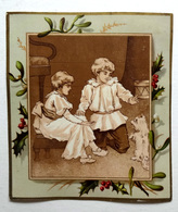 CHROMO LITHOGRAPHIE .. FORMAT 12.5 / 11 Cm... ILLUSTRATION  CENTRALE SÉPIA.....ENFANTS ..PETIT CHIEN..HOUX..GUI - Vieux Papiers