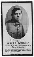 HARZE : Souvenir Pieux D'Albert Bonfond - 31e Cie P.A. Ourthe-Amblève - Décès