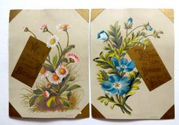 2 CHROMOS LITHOGRAPHIES .. FORMAT 12 / 9 Cm...VŒUX HAPPY BIRTHDAY EN DORURE...FLEURS - Vieux Papiers
