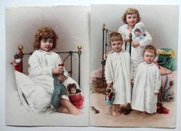 2 CHROMOS LITHOGRAPHIES .. FORMAT 14 / 10 Cm...ENFANTS AU LIT...POUPÉE..JOUETS - Vieux Papiers
