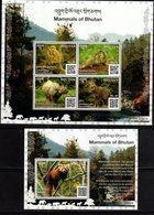 BHUTAN, 2019, MNH, MAMMALS OF BHUTAN, RHINOS, PRIMATES, MONKEYS, RED PANDA,  MARMOTS, SHEETLET+ S/SHEET - Rhinoceros