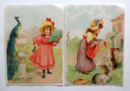 2 CHROMOS LITHOGRAPHIES .. FORMAT 12 / 9 Cm........FILLE..PAON..ÉVENTAIL  LAPIN..CAROTTE - Vieux Papiers