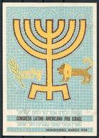 1956 Uruguay Montevideo Congreso Latino Americano Pro Israel Postcard. Judaica - Uruguay