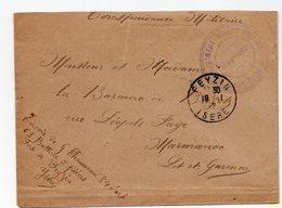 ENVELOPPE AVEC CACHET REGIMENT D INFANTERIE 69éme BATTERIE FEYZIN 1917 - Marcophilie (Lettres)
