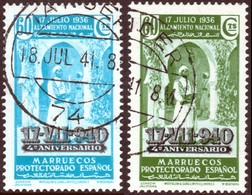 ~~~ Spanish Morocco Maroc Marruecos 1940 - 17.VIII.940 - Edifil 227 / Mi. 217 In Green And Blue  (o)  ~~~ - Spaans-Marokko