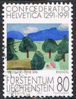 Liechtenstein SG1015 1991 700th Anniversary Of Swiss Confederation 80r Good/fine Used [17/15739/7D] - Liechtenstein