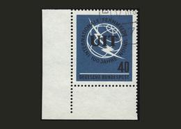 BRD 1965: Michel-Nr. 476, 100 Jahre Internationale Fernmeldeunion, 40 Pf., Eckrand Links Unten, Gestempelt - BRD