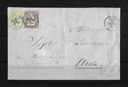 1854-1862 Helvetia (Ungezähnt) Strubel → 1860 Umschlag Vevey Nach Aarau ►Buntfrankatur 22G & 26G◄ - 1854-1862 Helvetia (Non-dentelés)