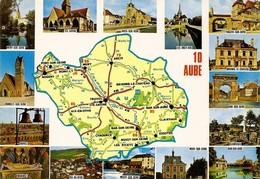 10 Carte Du Département De L'Aube Divers Aspects (2 Scans) - France