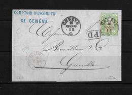 1854-1862 Helvetia (Ungezähnt) Strubel → 1860 PD-Brief Genève Nach Grenoble  ►SBK-26G◄ - 1854-1862 Helvetia (Non-dentelés)