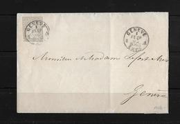 1854-1862 Helvetia (Ungezähnt) Strubel → 1863 Brief Kanton Genf  ►SBK-21G◄ - 1854-1862 Helvetia (Non-dentelés)