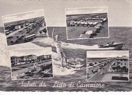LUCCA - Saluti Da Lido Di Camaiore - 4 Vedute + Pin Up In Costume Da Bagno Che Fa Sci Acquatico - Donnina Sexy - 1958 - Lucca