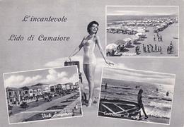 LUCCA - L'incantevole Lido Di Camaiore - 3 Vedute + Pin Up / Donnina In Costume Da Bagno - Charme / Sexy - 1958 - Lucca
