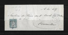 1854-1862 Helvetia (Ungezähnt) Strubel → 1855 Brief Via Morat Nach Cournillens  ►SBK-23A◄ - 1854-1862 Helvetia (Non-dentelés)
