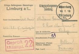 CPA PRISONNIER LIMBURG GEPRUFT  22 - ALLEMAGEN - D'un POILU Du 414° RI -  Vers VICHY (ALLIER)  -JUILLET 1918 - Guerra 1914-18