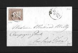 1854-1862 Helvetia (Ungezähnt) Strubel → 1859 Brief Genève Nach Saint Jean   ►SBK-22D◄ - 1854-1862 Helvetia (Non-dentelés)