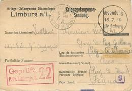 CPA PRISONNIER LIMBURG GEPRUFT  22 - ALLEMAGEN - D'un POILU Du 414° RI -  Vers VICHY (ALLIER)  -JUILLET 1918 - Franquicia Militar (Sellos)