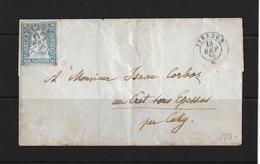 1854-1862 Helvetia (Ungezähnt) Strubel → 1858 Brief Yverdon Nach Cully  ►SBK-23Ca, Voll- Bis Meist überrandig◄ - 1854-1862 Helvetia (Non-dentelés)