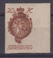 Liechtenstein 1920 Definitives 20 Heller Imperforated + Margin ** Mnh (42328) - Liechtenstein