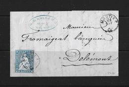 1854-1862 Helvetia (Ungezähnt) Strubel → 1860 Brief Moutier (J.Koller) Nach Delémont ►SBK-23G◄ - 1854-1862 Helvetia (Non-dentelés)