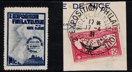 """VIGNETTE """" NICE 2e EXPOSITION PHILATÉLIQUE """" + TIMBRE POSTE AERIENNE Sur FRAGMENT AVEC OBLITERATION 1931 - Commemorative Labels"""