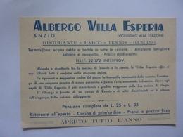 """Cartoncino Pubblicitario """"ALBERGO VILLA ESPERIA ANZIO"""" - Pubblicitari"""