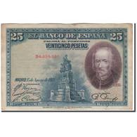 Billet, Espagne, 25 Pesetas, 1928-08-05, KM:74b, TB+ - [ 1] …-1931 : Eerste Biljeten (Banco De España)