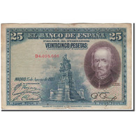 Billet, Espagne, 25 Pesetas, 1928-08-05, KM:74b, TB+ - [ 1] …-1931 : Premiers Billets (Banco De España)